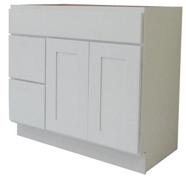 White Shaker Vanity Cabinet WS-3621DL