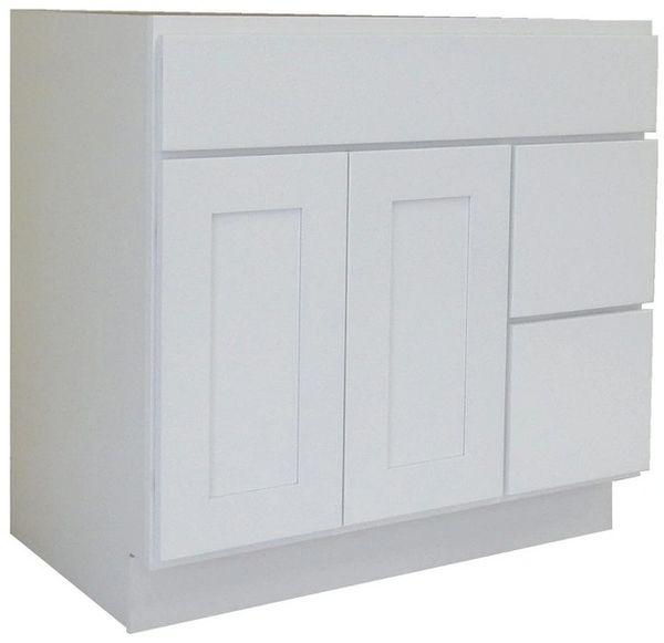 White Shaker Vanity Cabinet WS-3621DR