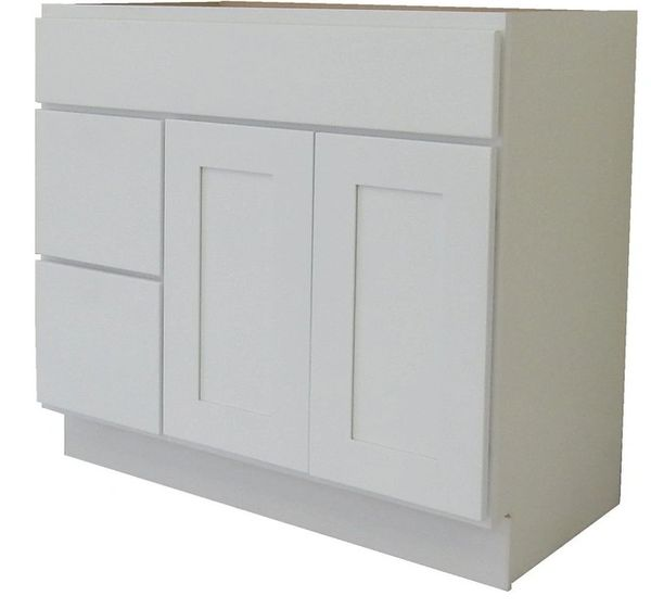 White Shaker Vanity Cabinet WS-4221DL