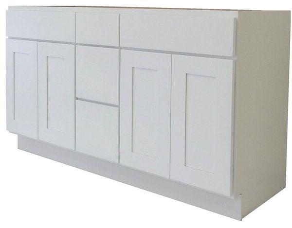 White Shaker Vanity Cabinet WS-6021DD