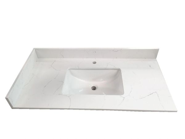 N.Ajax White Crystal Collection Vanity Top, 49""