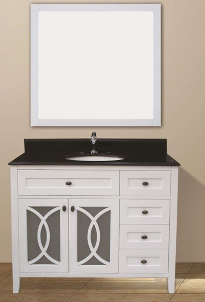 "Margaret Garden Collection Vanity Set, 42"" DR, Silky White"