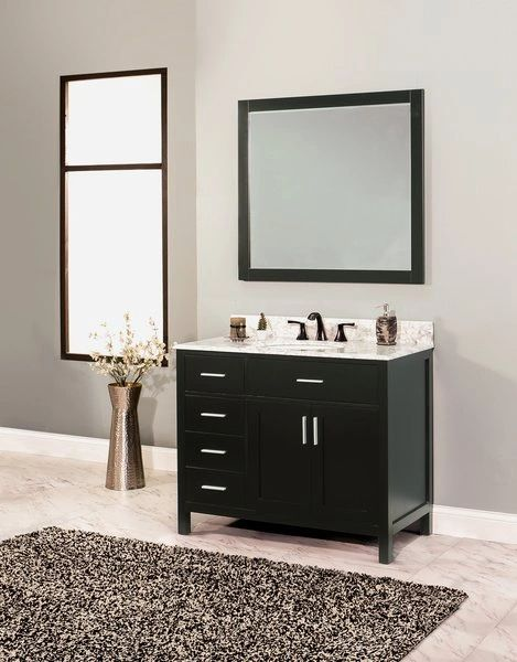 "Arezzo Collection Bathroom Vanity Set, 42"" DL, Silky Black"