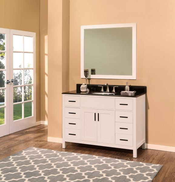"Arezzo Collection Bathroom Vanity Set, 48"", Silky White"