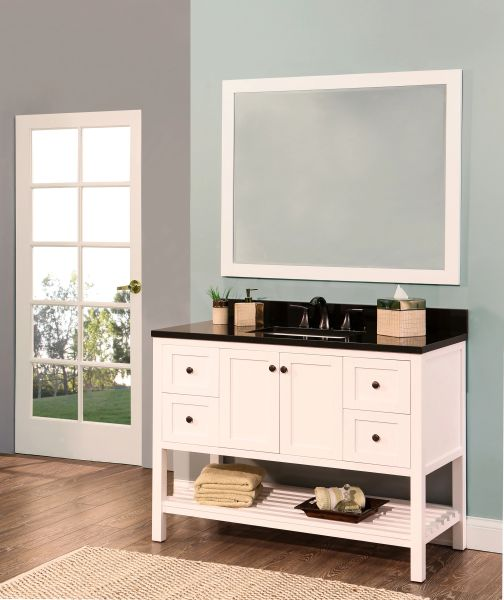 "Hampton Bay Collection Bathroom Vanity Set, 48"", Silky White"