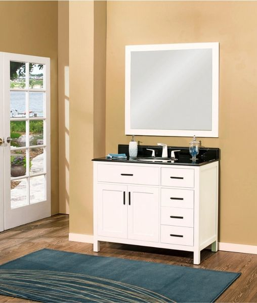 "Arezzo Collection Bathroom Vanity Set, 42"" DR, Silky White"