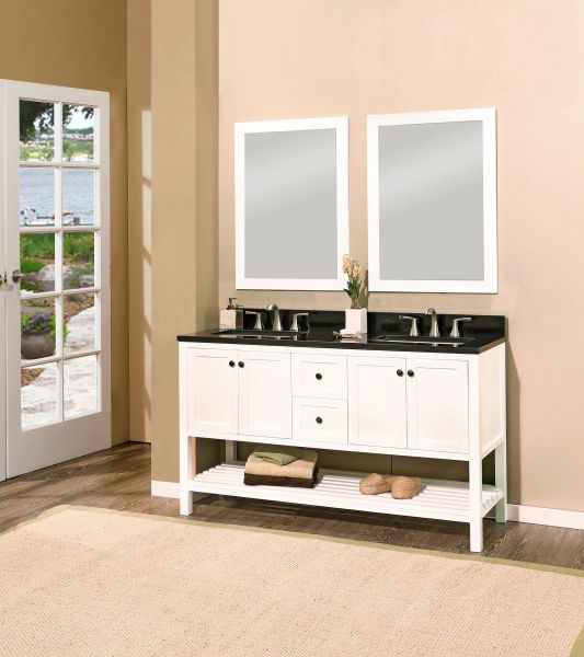 "Hampton Bay Collection Bathroom Vanity Set, 60"", Silky White"