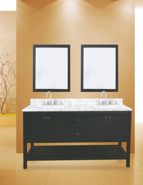 "Hampton Bay Collection Bathroom Vanity Set, 60"", Silky Black"