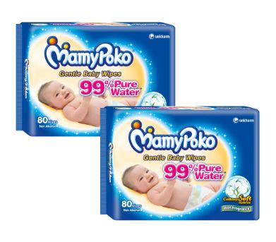 Mamy Poko Baby Wipes 2X80S