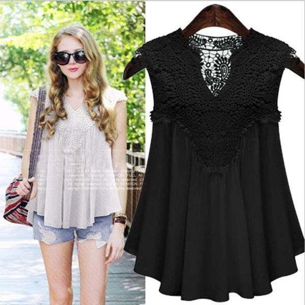 New Arrival Lace Matching V-Neck Women Blouse