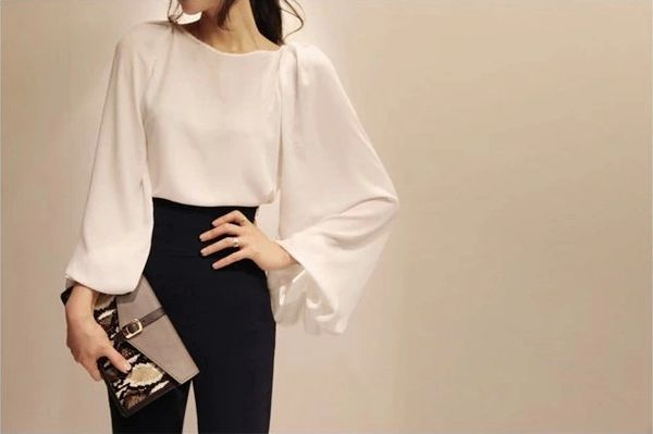 Puff Sleeve Solid White Blouse