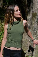 Popular Off Shoulder Back Bandage Woman Green Tops