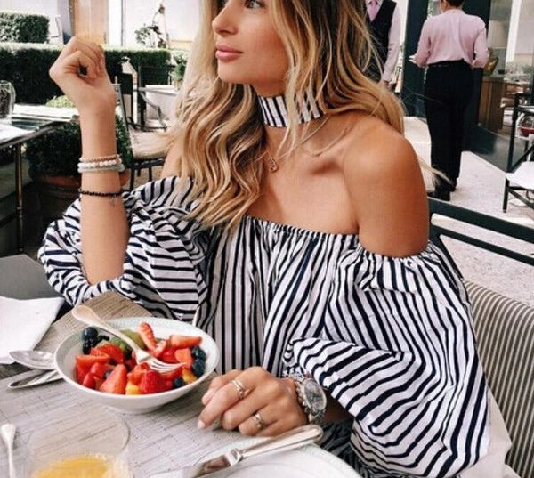 New Stripe Bost Neck Flare Sleeve Blouse With Collar Halter