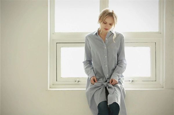 Fall Arrival Long Solid Asymmetrical Ladies Shirts