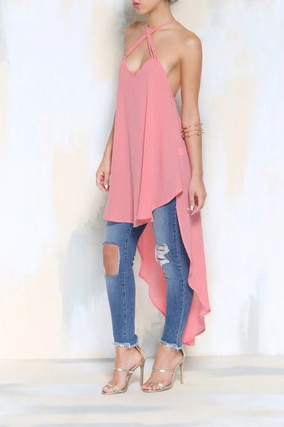 Bandage Asymmetrical Sleeveless Blouse