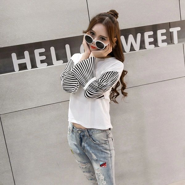 BF Style Chiffon Patchwork Striped Sleeve Blouse Tops
