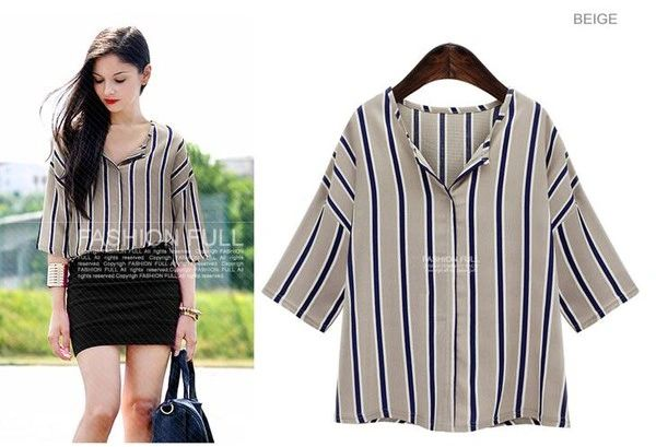 Euro Style Striped Half Sleeve Blouse Design