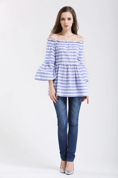 Easy Matching Off Shoulder Striped Blouse