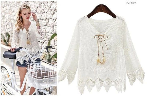 Easy Matching Lace Patchwork Asymmetrical White Blouse