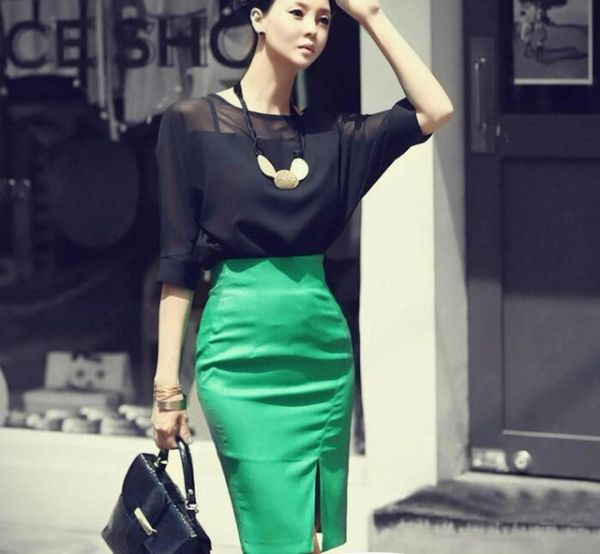 OL Style Women Chiffon Top Pencil Green Skirt