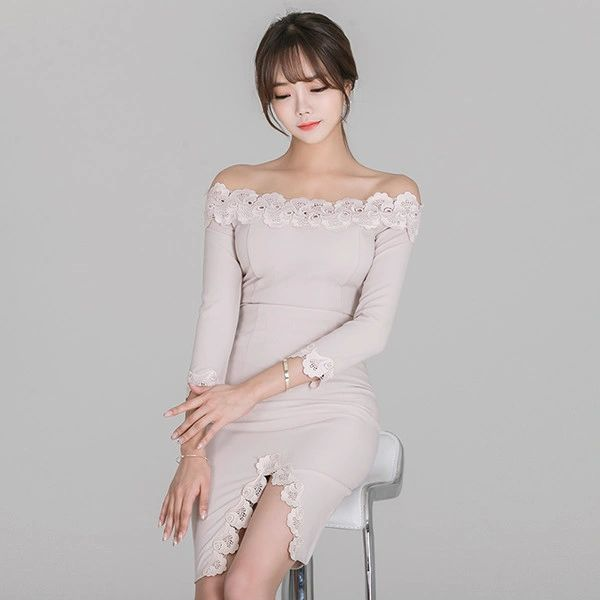 Lace Patchwork Ladies Suits Knitting Tops With Skirts