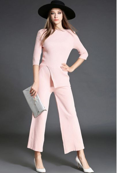 High Quality Solid Asymmetrical Tops With Long Loose Pants