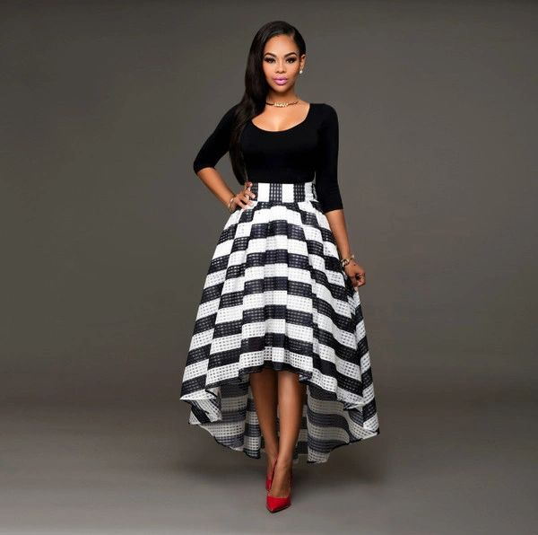 Wholesale Women Suits Boat Neck Tops With Striped Skirts