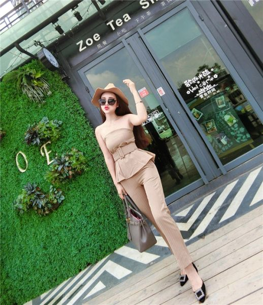 British Style Striped Strapless Tops Women Suits