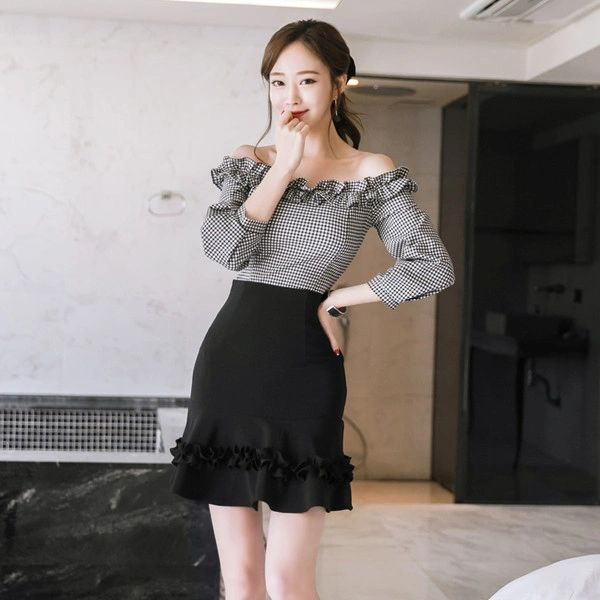 New Ladies Suits Plaid Blouse With High Waist Skirts