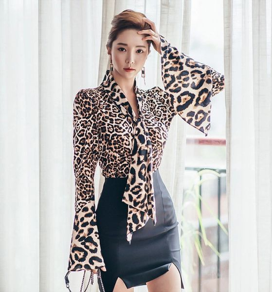 2016 Fashion Leopard Bow Tie Blouse With Cropped Skirt