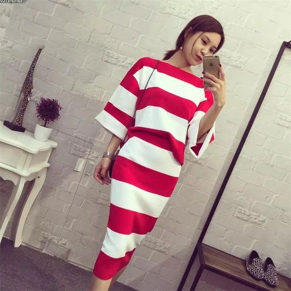 Fashion Patchwork Loose Top With Wrap Skirt Knitting Suit