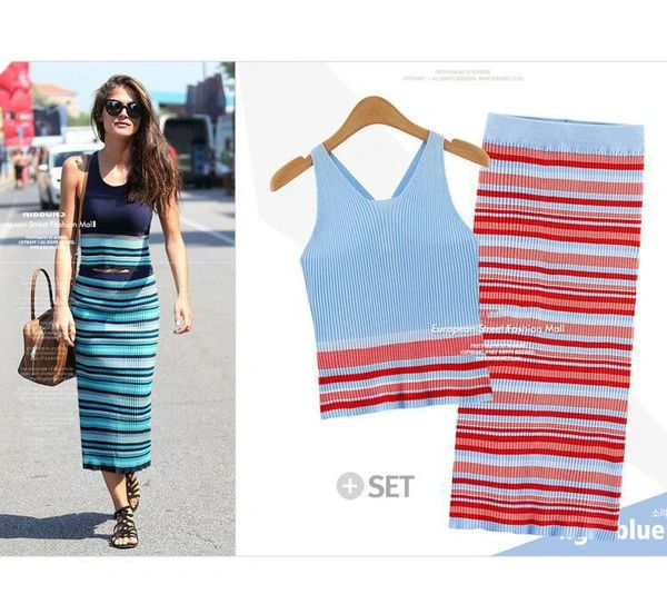 Wholesale Knitting Striped Cropped Top With Pencil Skirts
