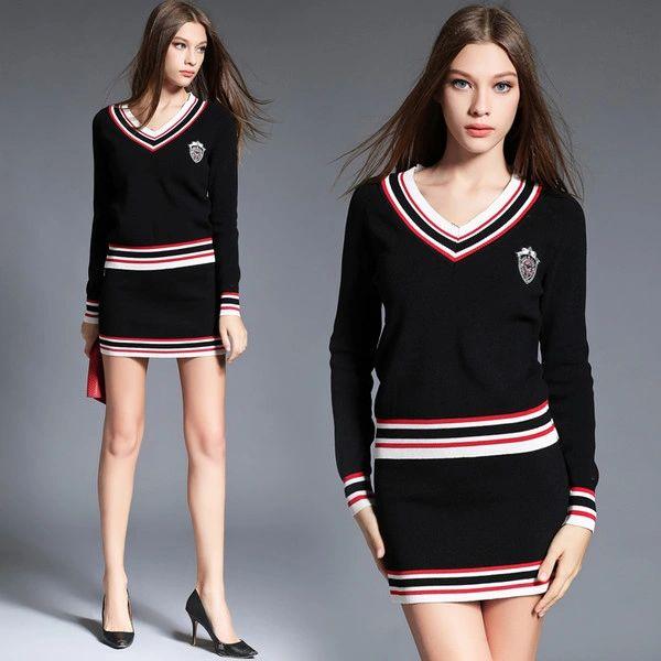 Euro Style V Neck Knitting Tops With Short Wrap Skirt