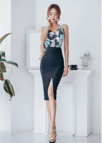 Lady Clothing Printing V Neck Tank With Wrap Midi SkirtS