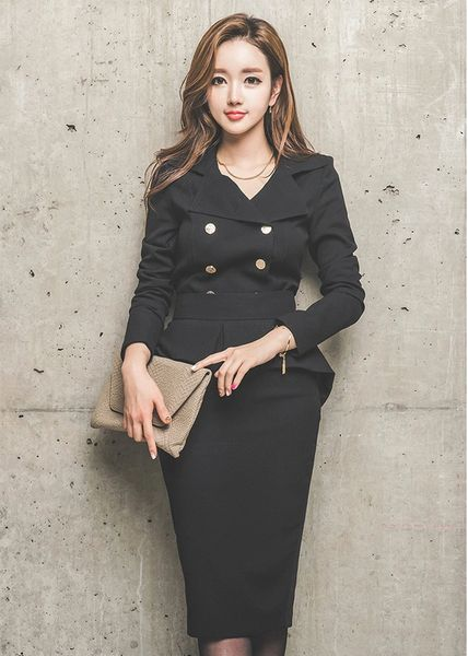 OL Style Ladies Suits Long Sleeve Tops With Wrap Midi SkirtS