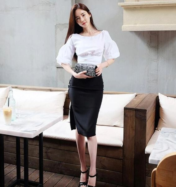 New Arrival White Blouse With High Waist Sexy SkirtS