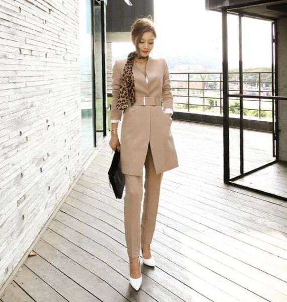New Arrival OL Style Cardigan Coats With Long Pants