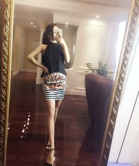 Sexy Match Backless Halter Top With Striped Printed Skirt