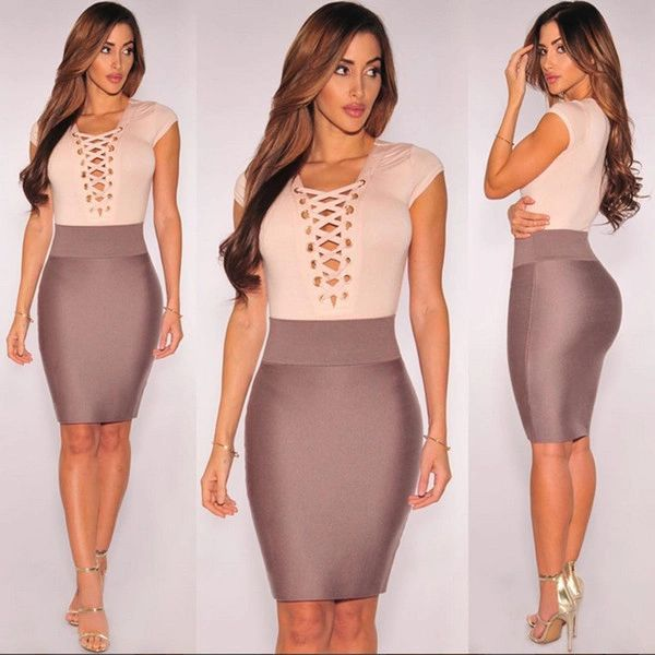 Night Club Woman Suits Hollow Out Blouse With Wrap Skirt