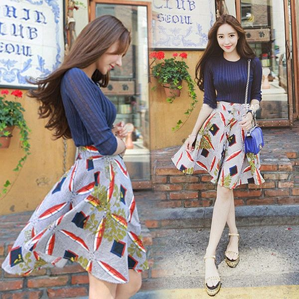 Wholesale Woman Suits Knitting Tops With Print Skirts