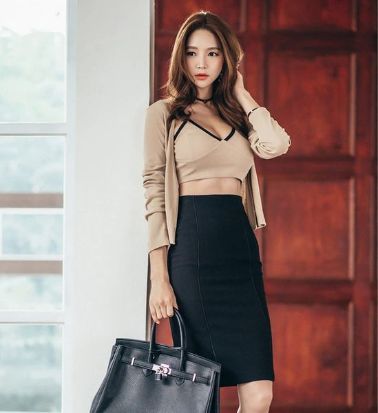 Sexy Three Piece Suits Tank Tops & Coats With Wrap Skirt