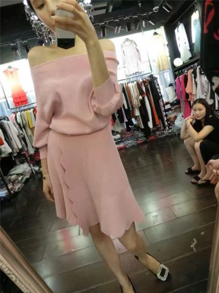Fall Newest Boat Neck Top With Wrap Slit Skirt Knitting Suit