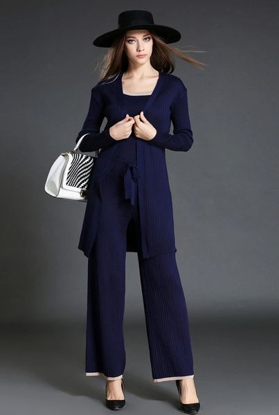 Euro Style Three Piece Solid Tanks & Coats With Loose Pants