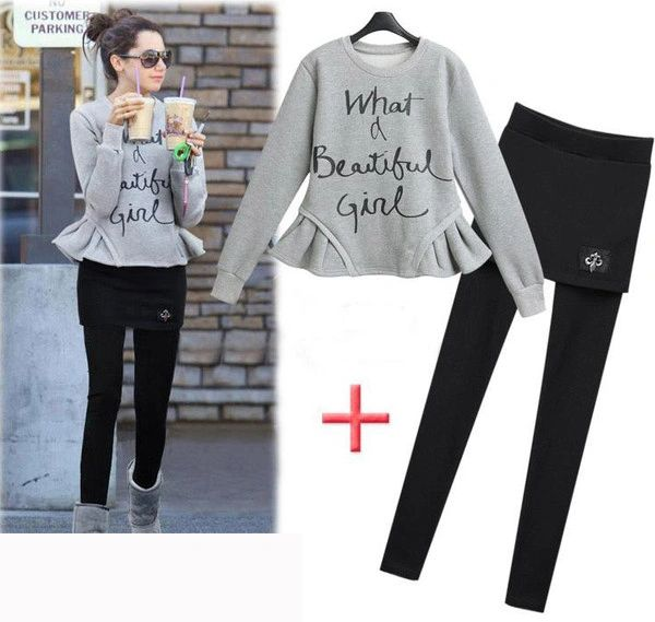 Sweet Korean Hoodies Suits O Neck Pullover With Pants