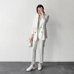 High Quality Striped OL Suits Blazers Tops With Long Tailored Trousers