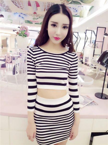 All Match Long Sleeve High Waist Stripe Skinny Fashion Suit
