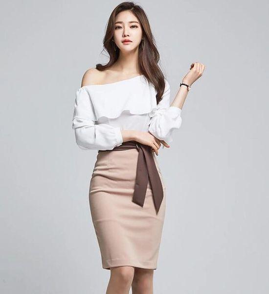 Korean Flare Sleeve Boat Neck Tops With High Waist Midi Skirt