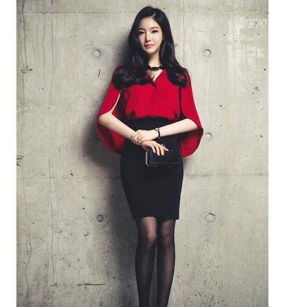 Ladylike Women Solid Top Slim-fitted Black Skirt