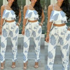 Euro Style Print Cropped Top With Long Pants