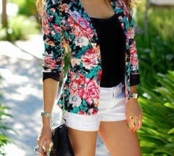Fashion Euro Style Floral Long Sleeve One Button Trench Coat